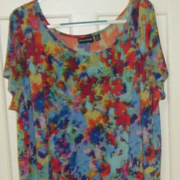 Nina Leonard Dresses & Skirts - Mul;ti Colored Short Sleeve Dress 3X
